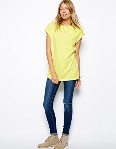 ASOS - Yellow Womens Boyfriend T-Shirt With Roll Sleeve ...