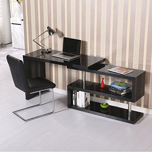 ... Homcom High Gloss Computer PC Desk Storage Display