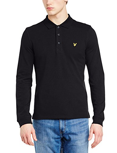 d0950c31 Lyle & Scott Men's Pique Long Sleeve Polo Shirt, True Black, X-Large ...