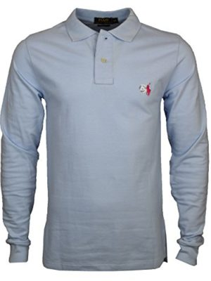 Mens-Ralph-Lauren-Custom-Fit-Long-Sleeve-Polo-Shirt-Small-Pony-Small-Light-Blue-Red-Pony-0