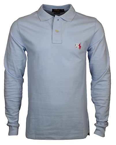 a568eabd7 Men's Ralph Lauren Custom Fit Long Sleeve Polo Shirt – Small Pony (Small,  Light Blue (Red Pony))