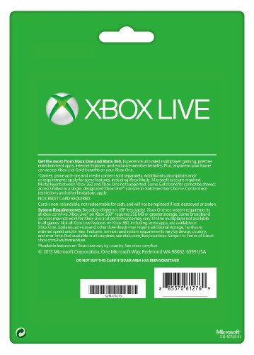Xbox Live Gold 12 Month Membership Card Xbox One 360