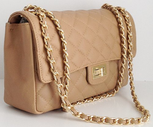 c54982c4cf9 Italian Leather Quilted Designer Inspired Handbag with Gold Trims ...