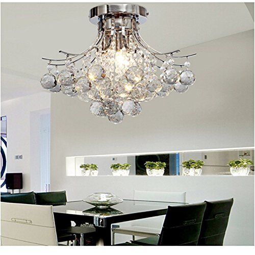 Alfred Chrome Finish Crystal Chandelier With 3 Lights Mini Style Flush Mount Ceiling Light