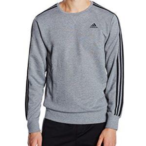 Actuación derivación audiencia  Adidas Men's Essentials 3-Stripes Crew French Terry Sweatshirt - Core  Heather/Black, X-Large   Wholesale Scout