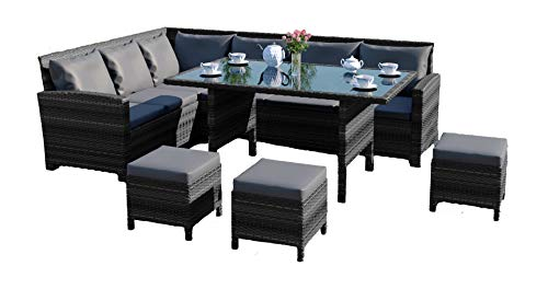 Abreo 9 Seater Rattan Corner Garden Dining Set Furniture Includes Protective Cover Black Brown Dark Mixed Grey Dark Mixed Grey With Dark Cushions Wholesale Scout